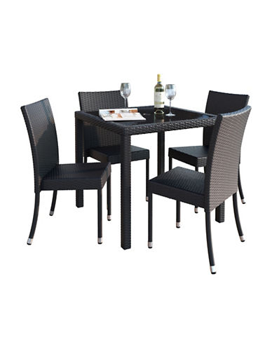 Corliving Park Terrace 5-Piece Weave Patio Dining Set-BLACK-One Size