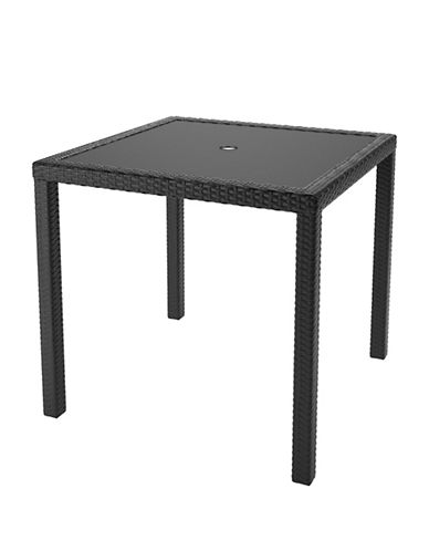 Corliving Park Terrace Weave Square Patio Dining Table-BLACK-One Size