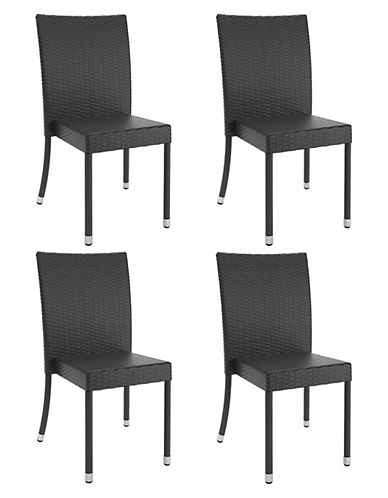 Corliving Park Terrace Patio Dining Chairs-BLACK-One Size