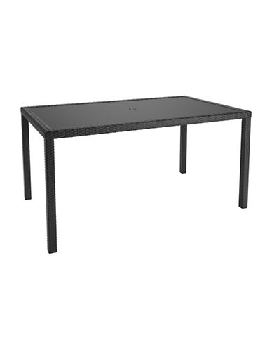 Corliving Park Terrace Weave Patio Dining Table-BLACK-One Size