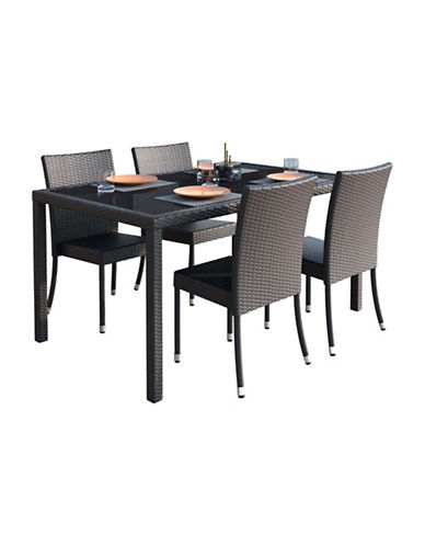 Corliving Park Terrace 5-Piece Weave Patio Dining Set-BLACK-One Size