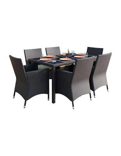 Corliving Seven-Piece Patio Terrace Weave Patio Dining Set-BLACK-One Size