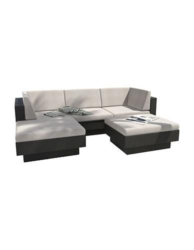 Corliving Park Terrace 5-Piece Weave Double Armrest Sectional Patio Set-BLACK-One Size