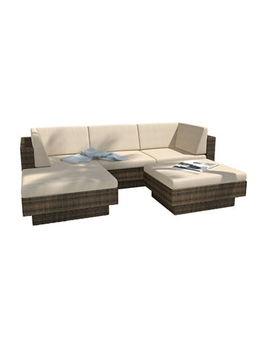 Corliving Park Terrace 5-Piece Saddle Strap Weave Double Armrest Sectional Patio Set-BROWN-One Size
