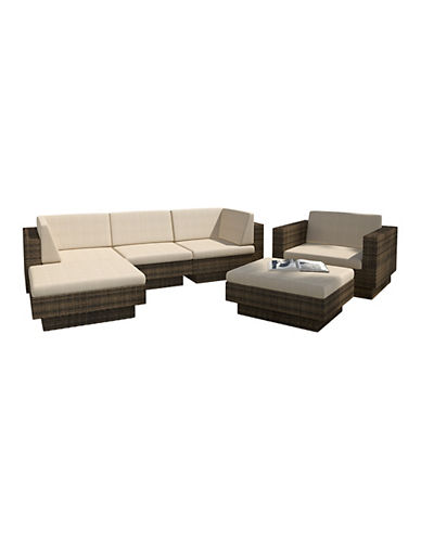 Corliving Park Terrace 6-Piece Saddle Strap Weave Double Armrest Sectional Patio Set-BROWN-One Size