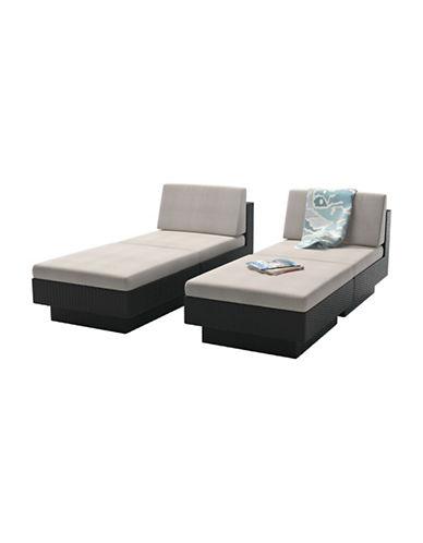 Corliving Park Terrace 4-Piece Weave Lounger Patio Set-BLACK-One Size