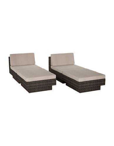 Corliving Park Terrace 4-Piece Weave Lounger Patio Set-BROWN-One Size