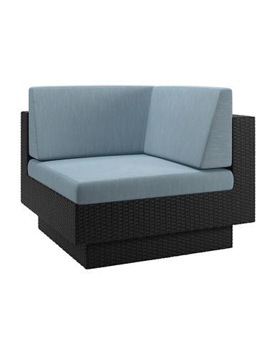 Corliving Park Terrace Weave Patio Corner Seat-BLUE-One Size