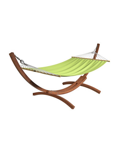 Corliving Wood Canyon Free-Standing Patio Hammock-GREEN-One Size