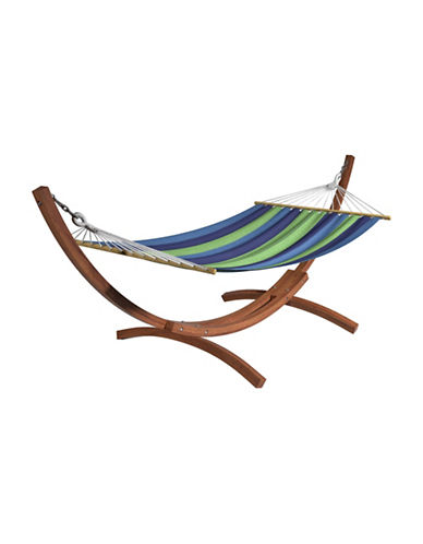 Corliving Wood Canyon Free-Standing Patio Hammock-BLUE/GREEN-One Size