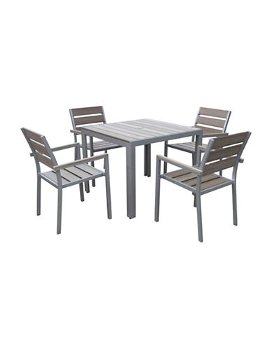 Corliving Five-Piece Gallant Sun Bleached Outdoor Dining Set-GREY-One Size