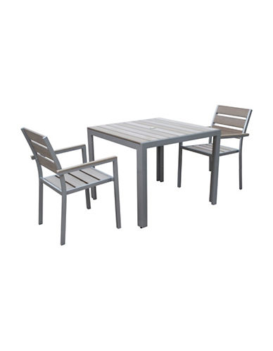 Corliving Three-Piece Gallant Sun Bleached Outdoor Dining Set