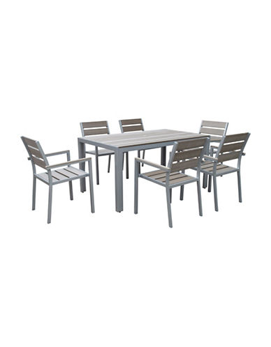 Corliving Seven-Piece Gallant Sun Bleached Outdoor Dining Set-GREY-One Size