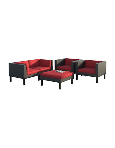 Corliving Five-Piece Sectional Sofa  and Chair Patio Set-RED-One Size