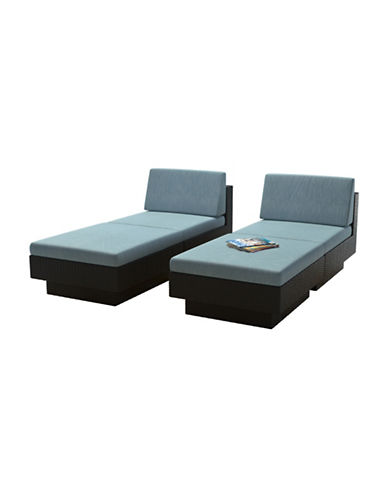 Corliving Park Terrace 4-Piece Weave Lounger Patio Set-BLUE-One Size