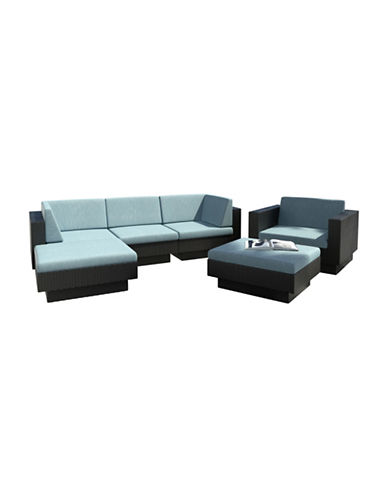 Corliving Park Terrace 6-Piece Weave Double Armrest Sectional Patio Set-BLUE-One Size
