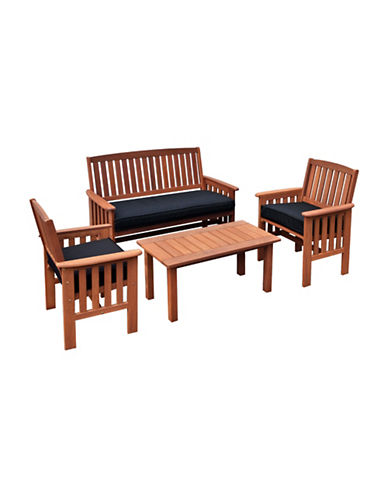 Corliving Miramar Four-Piece Outdoor Chair and Coffee Table Set-BROWN-One Size