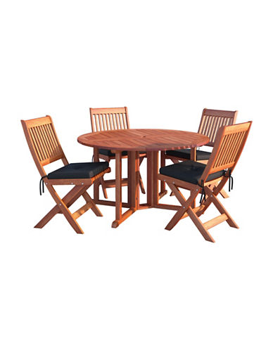 Corliving Miramar Five-Piece Outdoor Folding Dining Set-BROWN-One Size