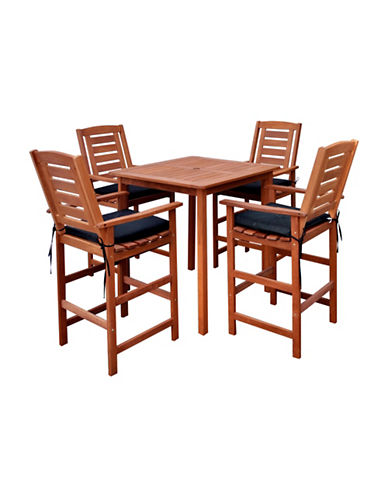 Corliving Miramar Five-Piece Outdoor Bar Height Bistro Set-BROWN-One Size