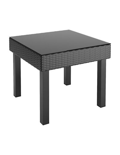 Corliving Patio Textured Weave Side Table-BLACK-One Size