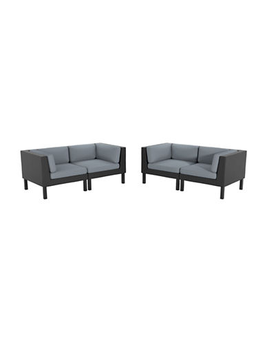 Corliving 4-Piece Loveseat Patio Set-GREY-One Size
