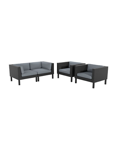 Corliving 4-Piece Loveseat and Chair Patio Set-GREY-One Size