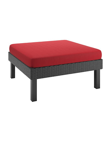Corliving Textured Weave Patio Ottoman-RED-One Size