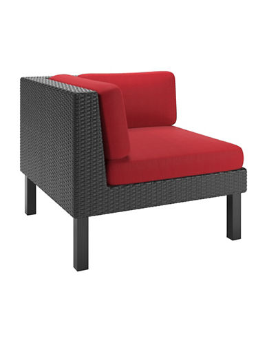 Corliving Textured Weave Patio Corner Seat-RED-One Size