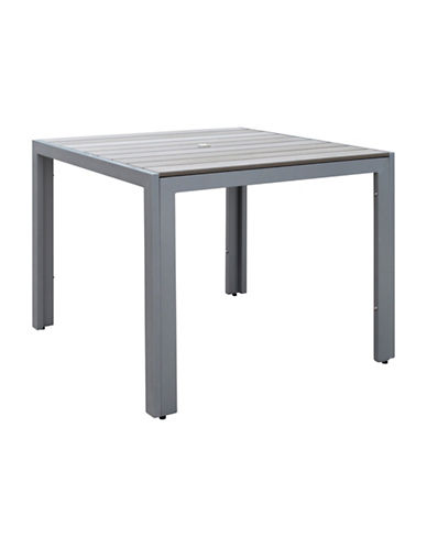 Corliving Gallant Sun Bleached Square Outdoor Dining Table-GREY-One Size