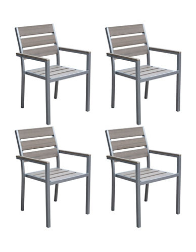 Corliving Four-Piece Gallant Sun Bleached Outdoor Dining Chair Set-GREY-One Size