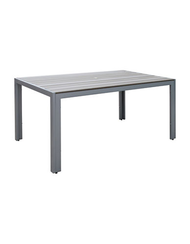 Corliving Gallant Sun Bleached Outdoor Dining Table-GREY-One Size
