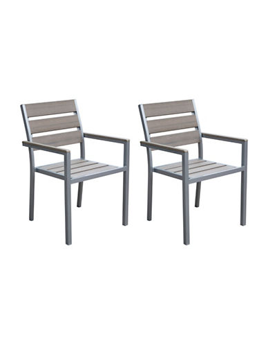 Corliving Two-Piece Gallant Sun Bleached Outdoor Dining Chairs-GREY-One Size