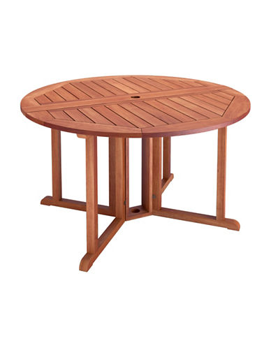 Corliving Miramar Outdoor Drop Leaf Dining Table-BROWN-One Size