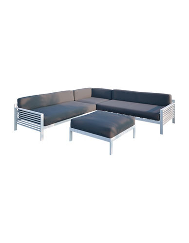 Corliving Nantucket 4-Piece Patio Sectional Set-GREY-One Size