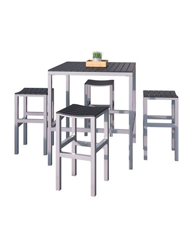 Corliving 5-Piece Nantucket Outdoor Bar Height Bistro Set-SILVER-One Size
