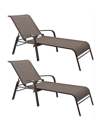 Corliving Reclining Patio Lounger Set-BROWN-One Size