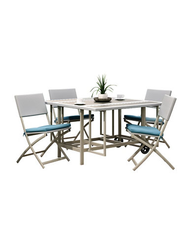 Corliving Nantucket Five-Piece Stowable Folding Patio Dining Set-GREY-One Size