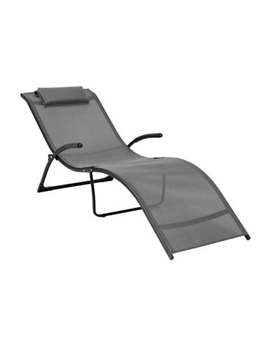 Corliving Riverside Folding Reclined Patio Lounger-GREY-One Size