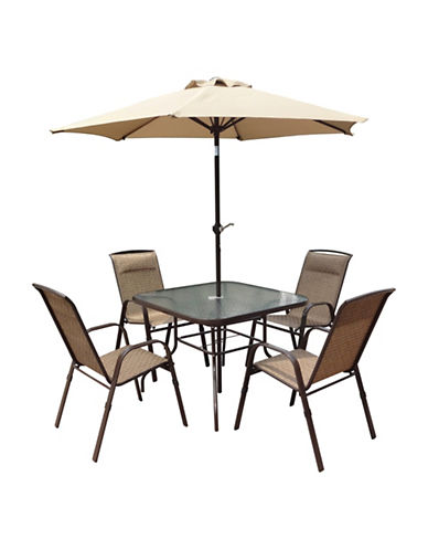 Corliving Five-Piece Patio Dining and Tilting Umbrella Set-BROWN-One Size