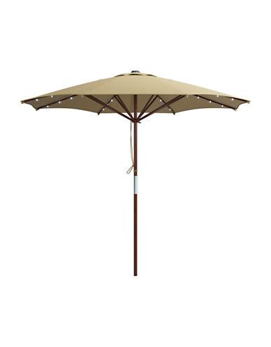 Corliving Solar Powered LED Lights Patio Umbrella-BEIGE-One Size