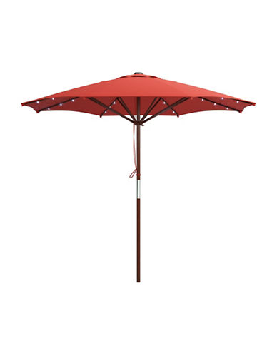 Corliving Solar Powered LED Lights Patio Umbrella-RED-One Size