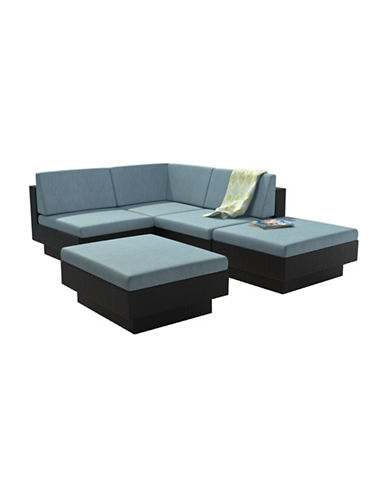 Corliving Park Terrace 5-Piece Weave Sectional Patio Set-BLUE-One Size
