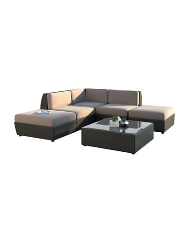 Corliving Seattle Curved 6-Piece Chaise Lounge Sectional Patio Set-GREY-One Size