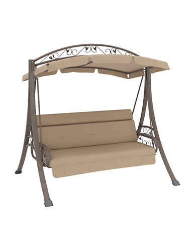 Corliving Nantucket Patio Swing with Arched Canopy-BEIGE-One Size