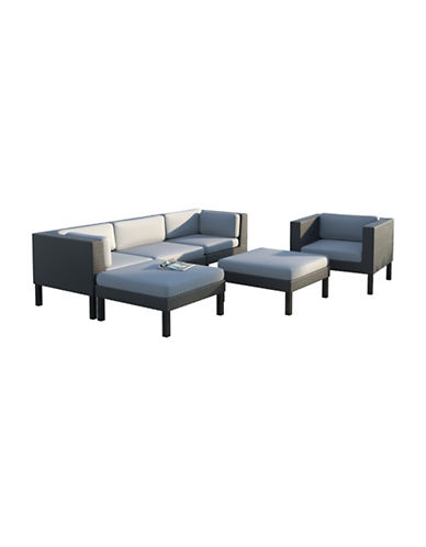 Corliving 6-Piece Sofa, Chaise Lounge and Chair Patio Set-GREY-One Size