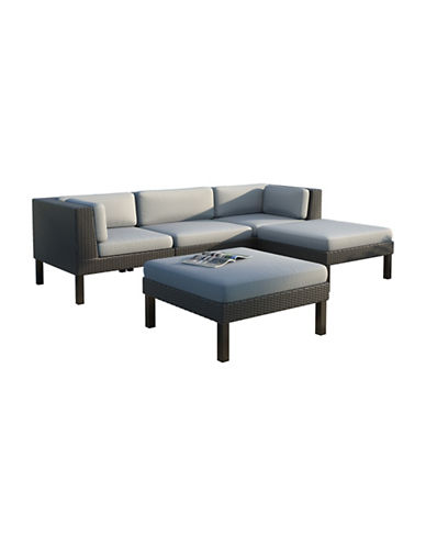 Corliving 5-Piece Sofa and Chaise Lounge Patio Set-GREY-One Size