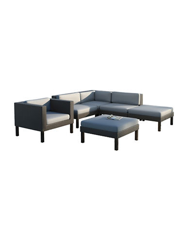 Corliving 6-Piece Sectional, Chaise Lounge and Chair Patio Set-GREY-One Size