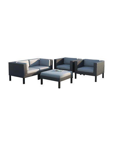 Corliving 5-Piece Sofa and Chair Patio Set-GREY-One Size