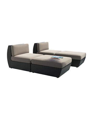 Corliving Seattle Curved 4-Piece Lounger Patio Set-GREY-One Size