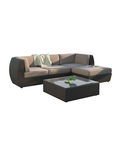 Corliving Seattle Curved 5-Piece Sofa with Chaise Lounge Patio Set-GREY-One Size
